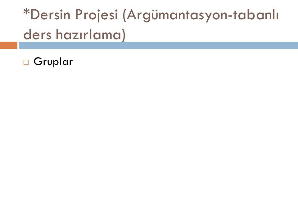 *Dersin Projesi (Argümantasyon-tabanlı ders hazırlama)