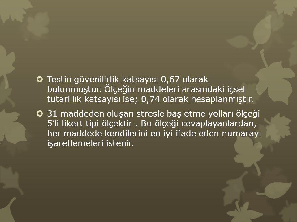 Testin güvenilirlik katsayısı 0,67 olarak bulunmuştur
