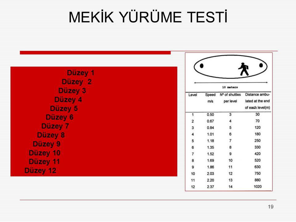 MEKİK YÜRÜME TESTİ Düzey 1    Düzey 2     Düzey 3     