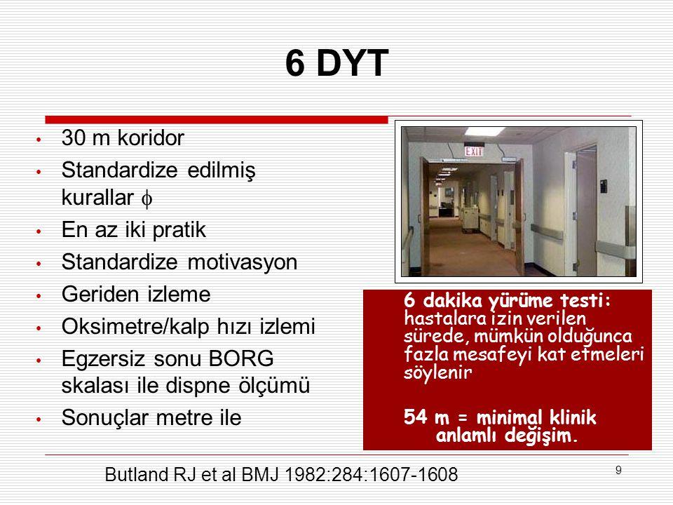 6 DYT 30 m koridor Standardize edilmiş kurallar  En az iki pratik