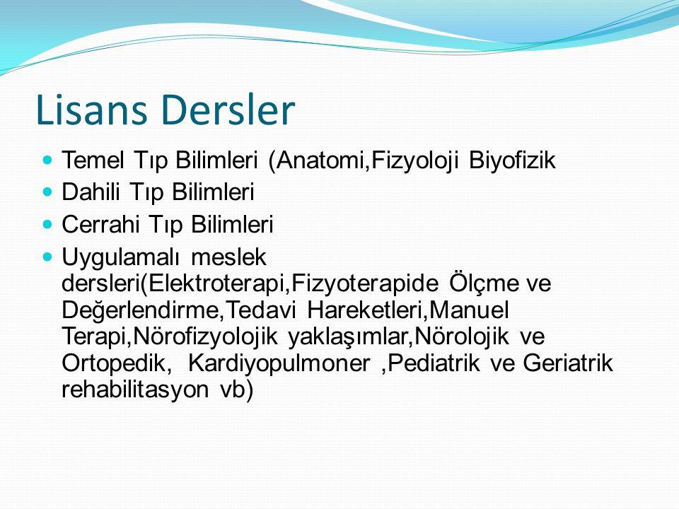 Lisans Dersler Temel Tıp Bilimleri (Anatomi,Fizyoloji Biyofizik