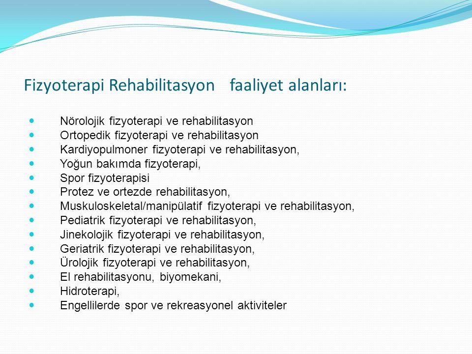 Fizyoterapi Rehabilitasyon faaliyet alanları: