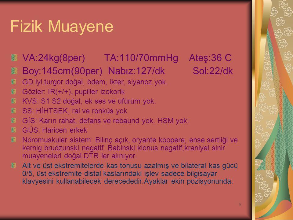 Fizik Muayene VA:24kg(8per) TA:110/70mmHg Ateş:36 C