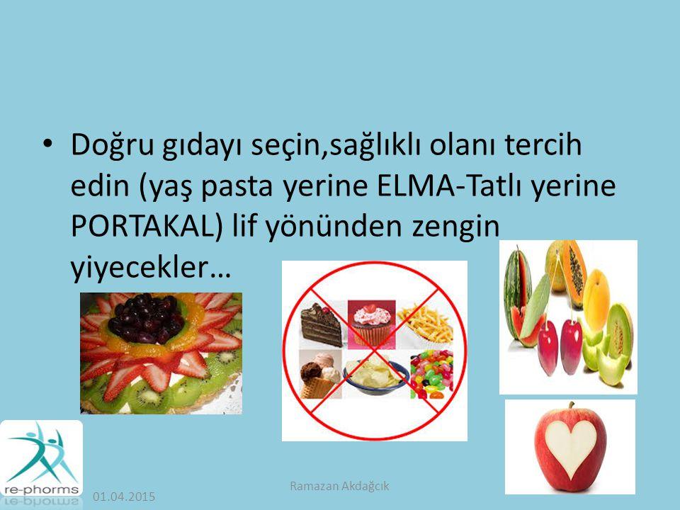 Doğru gıdayı seçin,sağlıklı olanı tercih edin (yaş pasta yerine ELMA-Tatlı yerine PORTAKAL) lif yönünden zengin yiyecekler…