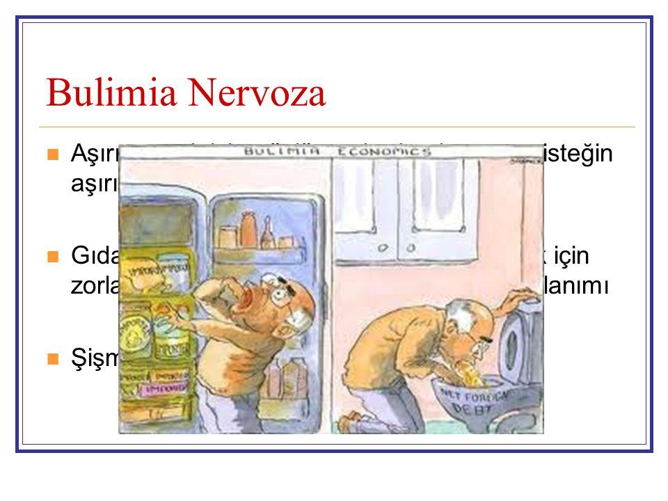 Bulimia Nervoza Aşırı yemek için güçlü ve durdurulamayan isteğin aşırı yeme epizodlarına neden olması.