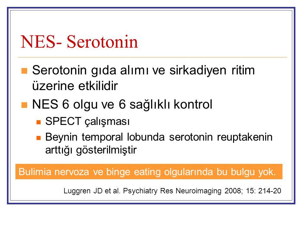 NES- Serotonin Serotonin gıda alımı ve sirkadiyen ritim üzerine etkilidir. NES 6 olgu ve 6 sağlıklı kontrol.