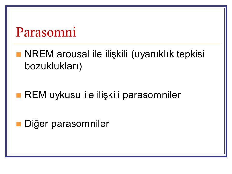 Parasomni NREM arousal ile ilişkili (uyanıklık tepkisi bozuklukları)