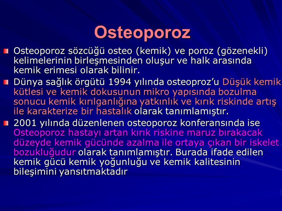 Osteoporoz Osteoporoz sözcüğü osteo (kemik) ve poroz (gözenekli) kelimelerinin birleşmesinden oluşur ve halk arasında kemik erimesi olarak bilinir.