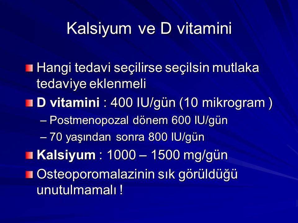 Kalsiyum ve D vitamini Hangi tedavi seçilirse seçilsin mutlaka tedaviye eklenmeli. D vitamini : 400 IU/gün (10 mikrogram )