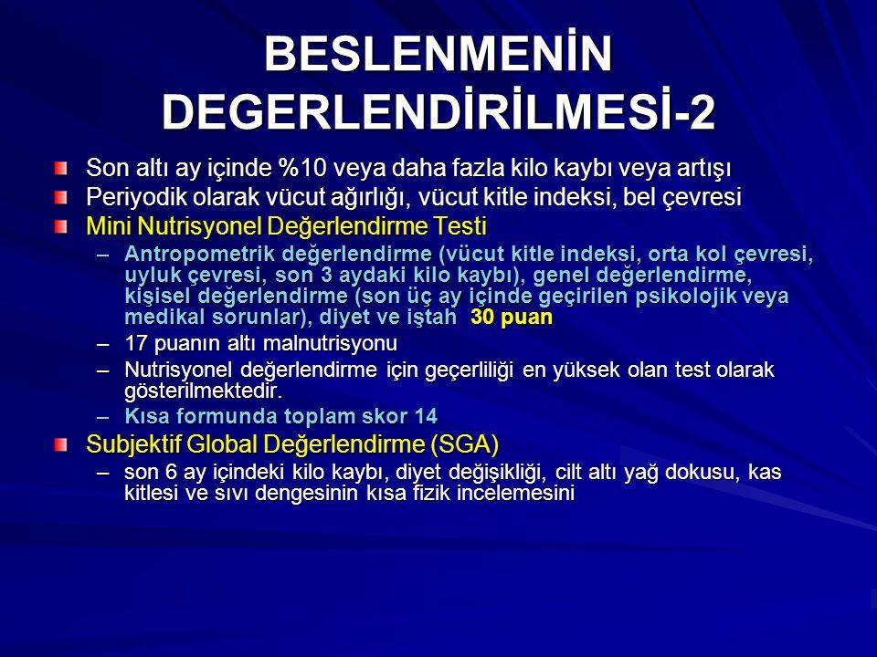 BESLENMENİN DEGERLENDİRİLMESİ-2