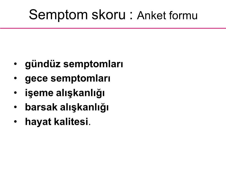 Semptom skoru : Anket formu