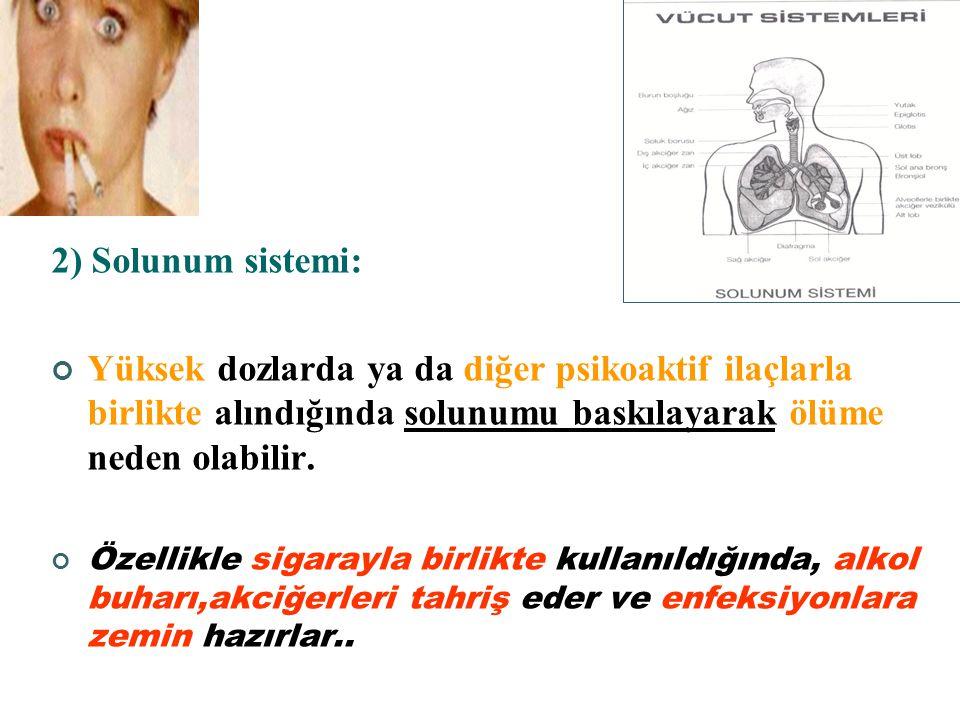 2) Solunum sistemi: Yüksek dozlarda ya da diğer psikoaktif ilaçlarla birlikte alındığında solunumu baskılayarak ölüme neden olabilir.