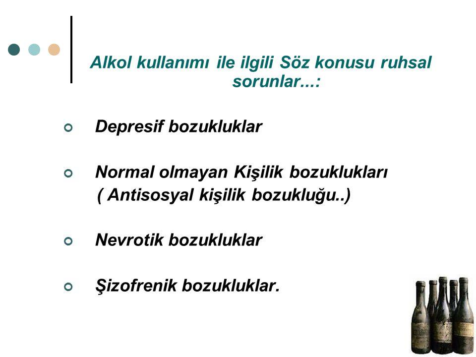 Alkol kullanımı ile ilgili Söz konusu ruhsal sorunlar...: