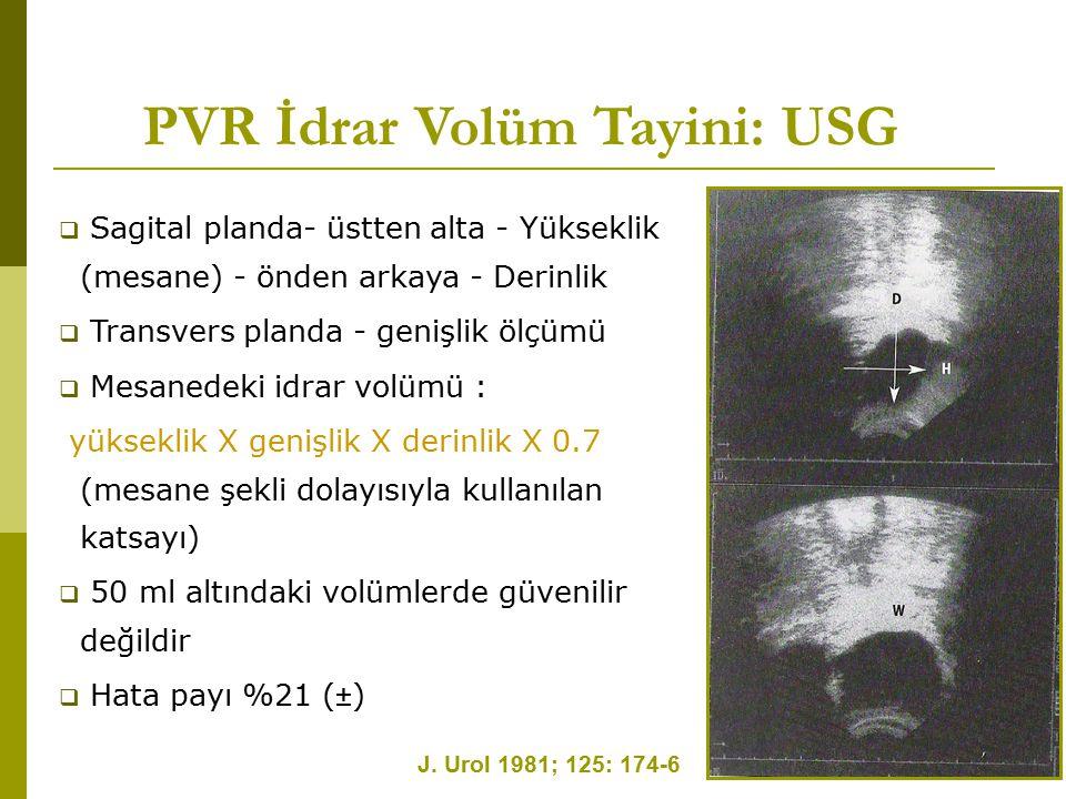 PVR İdrar Volüm Tayini: USG