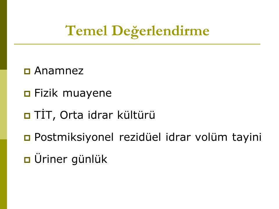 Temel Değerlendirme Anamnez Fizik muayene TİT, Orta idrar kültürü
