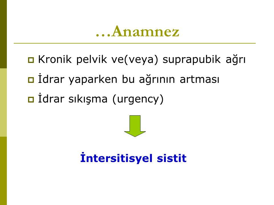 …Anamnez Kronik pelvik ve(veya) suprapubik ağrı