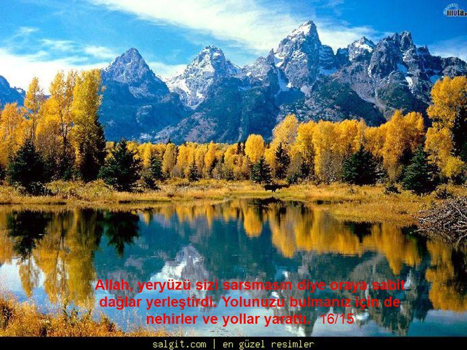 Allah, yeryüzü sizi sarsmasın diye oraya sabit dağlar yerleştirdi