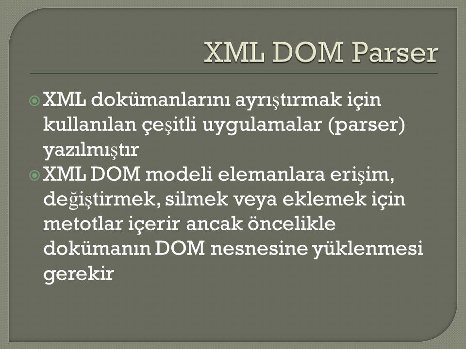 XML DOM Parser XML dokümanlarını ayrıştırmak için kullanılan çeşitli uygulamalar (parser) yazılmıştır.