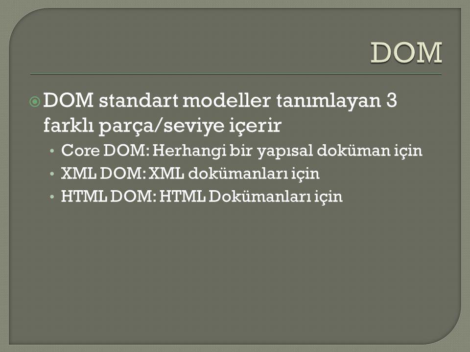 DOM DOM standart modeller tanımlayan 3 farklı parça/seviye içerir