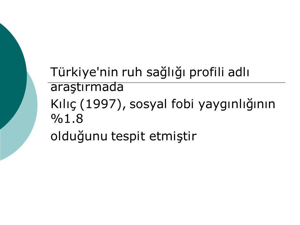 Türkiye nin ruh sağlığı profili adlı araştırmada