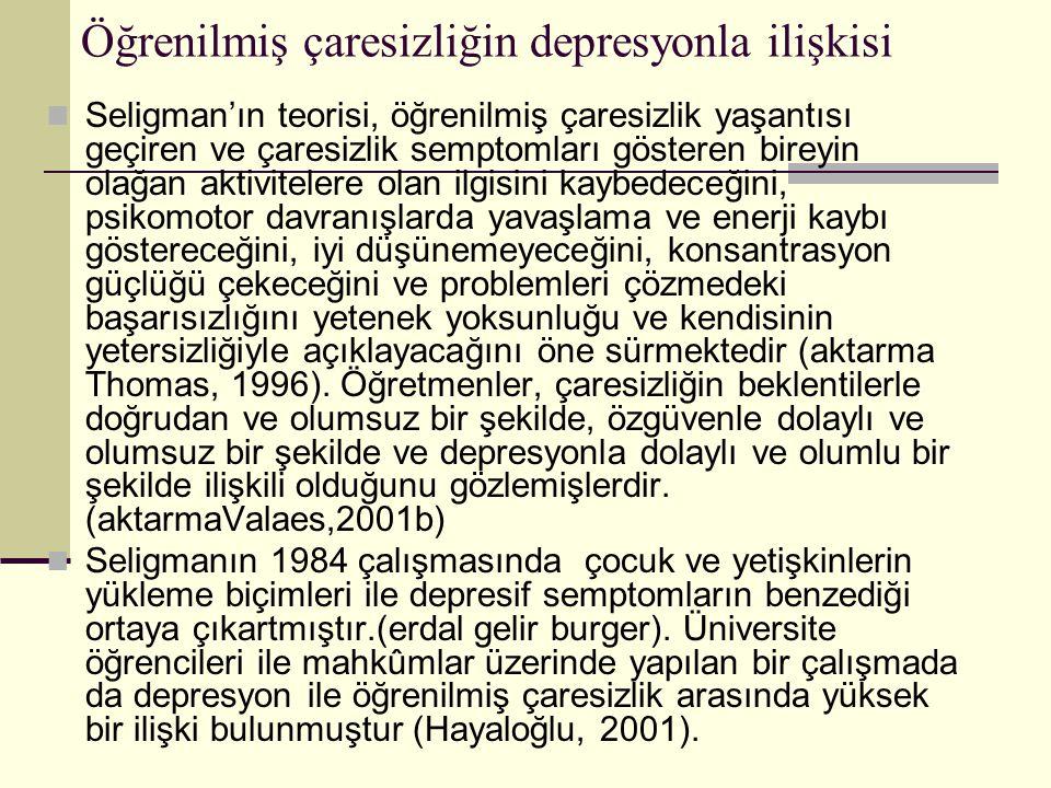 Öğrenilmiş çaresizliğin depresyonla ilişkisi