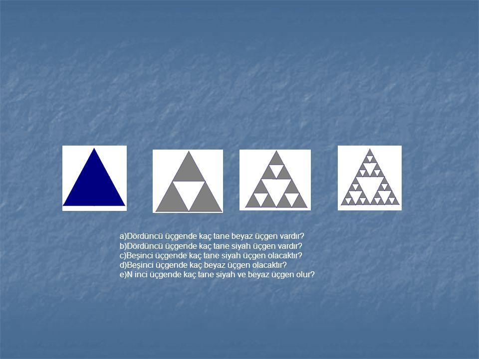 Dördüncü üçgende kaç tane beyaz üçgen vardır