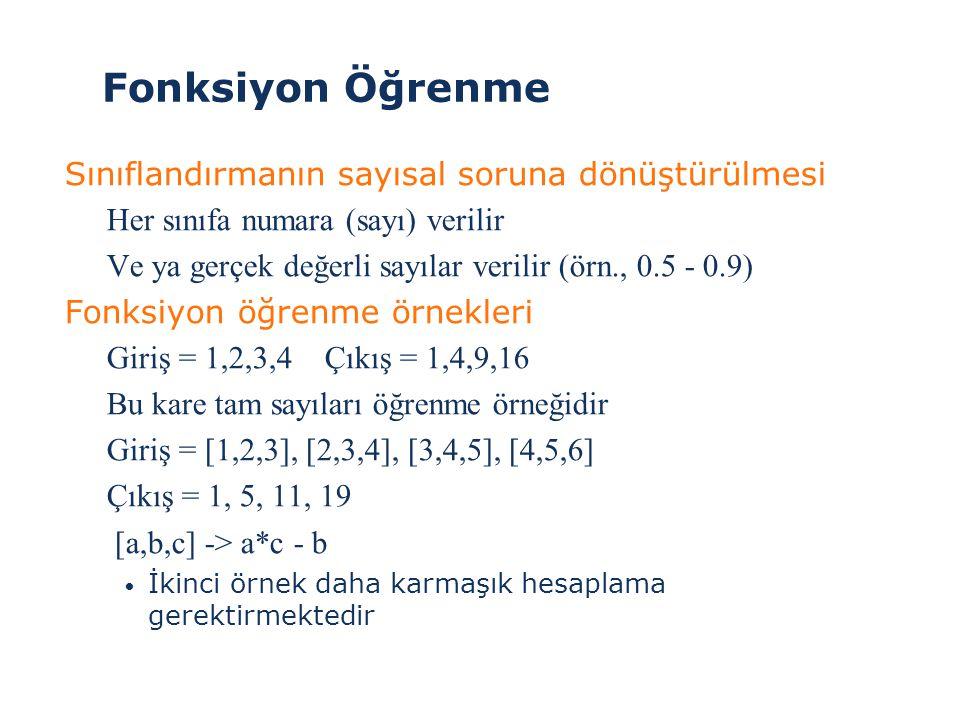 Fonksiyon Öğrenme Sınıflandırmanın sayısal soruna dönüştürülmesi