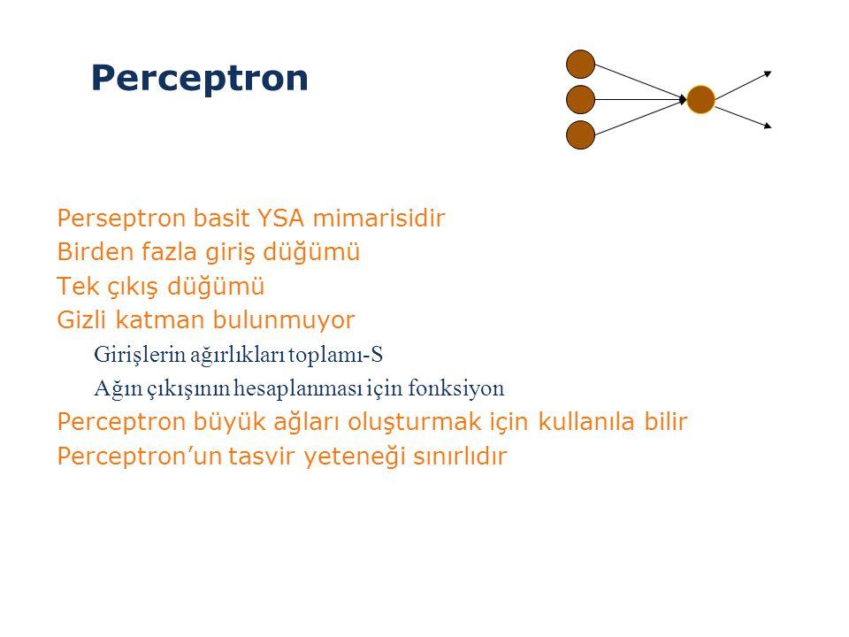 Perceptron Perseptron basit YSA mimarisidir Birden fazla giriş düğümü