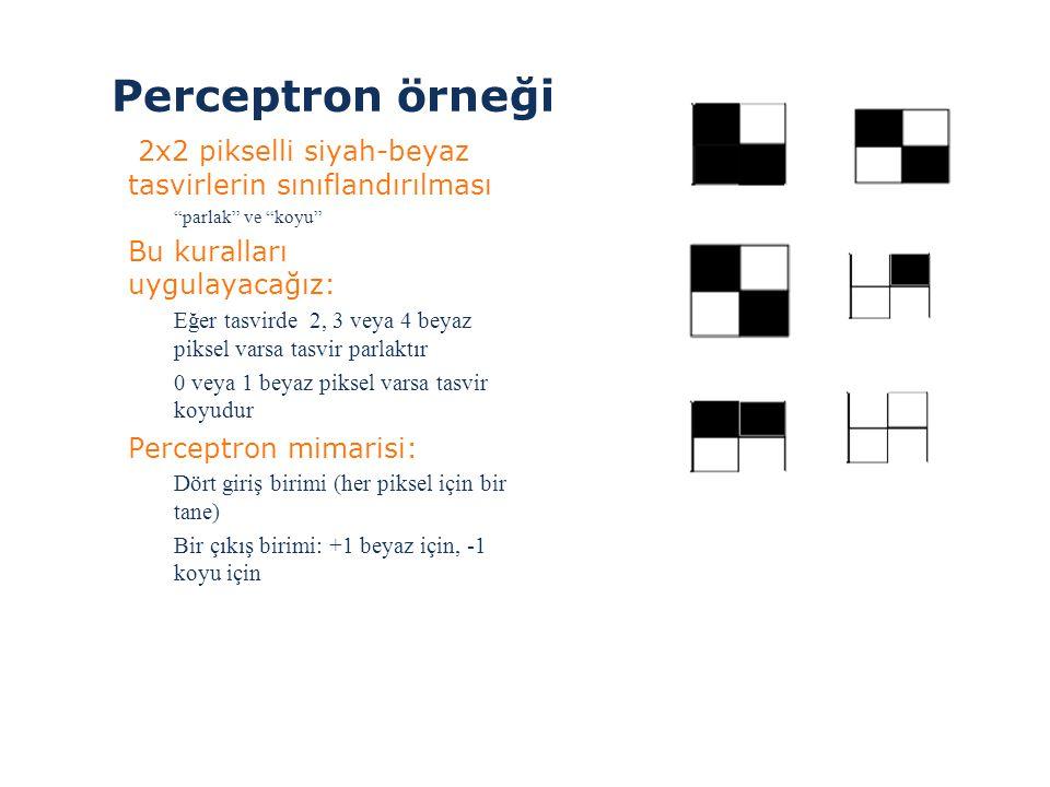 Perceptron örneği 2x2 pikselli siyah-beyaz tasvirlerin sınıflandırılması. parlak ve koyu Bu kuralları uygulayacağız: