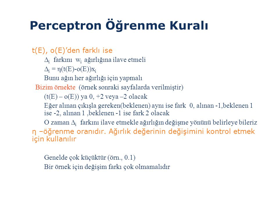 Perceptron Öğrenme Kuralı