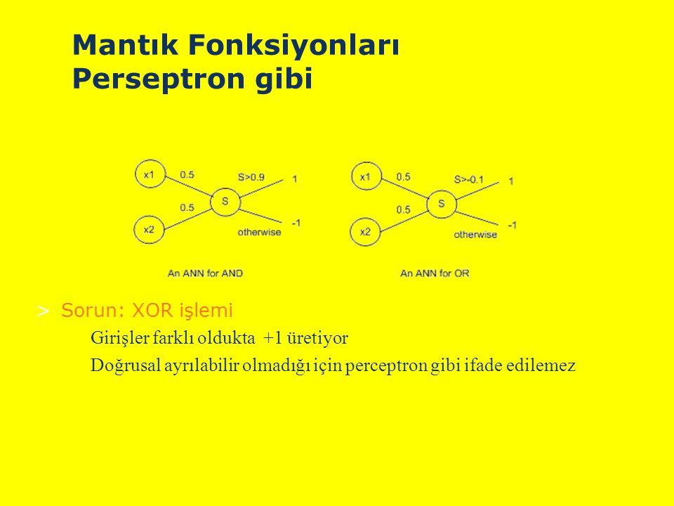 Mantık Fonksiyonları Perseptron gibi