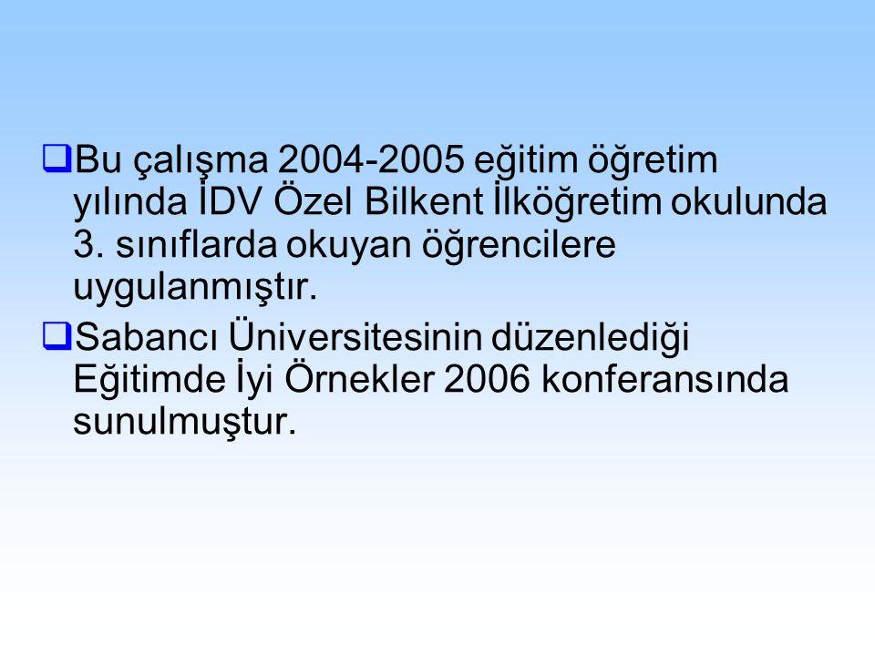 Bu çalışma 2004-2005 eğitim öğretim yılında İDV Özel Bilkent İlköğretim okulunda 3. sınıflarda okuyan öğrencilere uygulanmıştır.