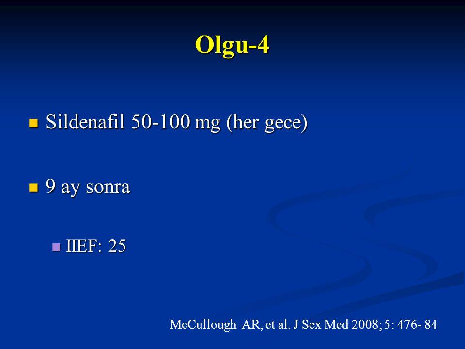 Olgu-4 Sildenafil 50-100 mg (her gece) 9 ay sonra IIEF: 25