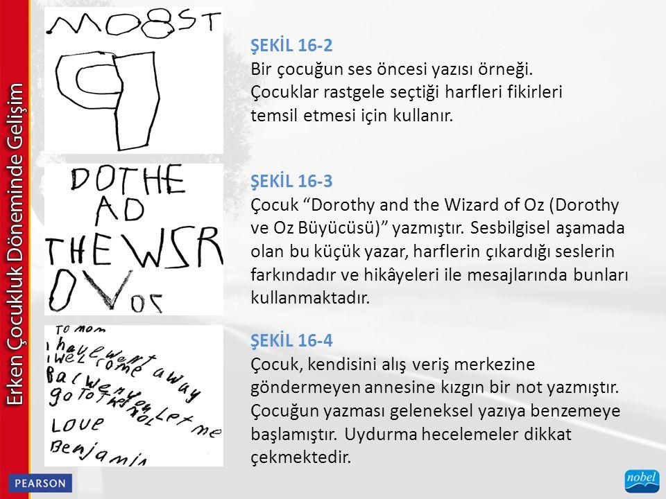 ŞEKİL 16-2 Bir çocuğun ses öncesi yazısı örneği. Çocuklar rastgele seçtiği harfleri fikirleri temsil etmesi için kullanır.