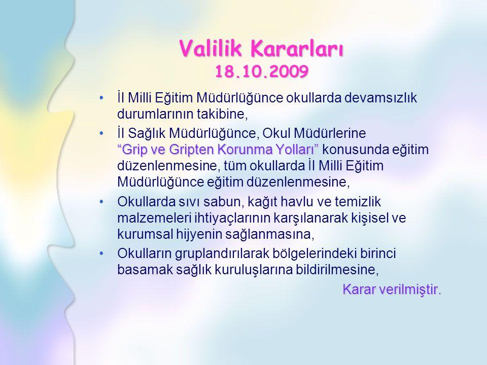 Valilik Kararları 18.10.2009 İl Milli Eğitim Müdürlüğünce okullarda devamsızlık durumlarının takibine,