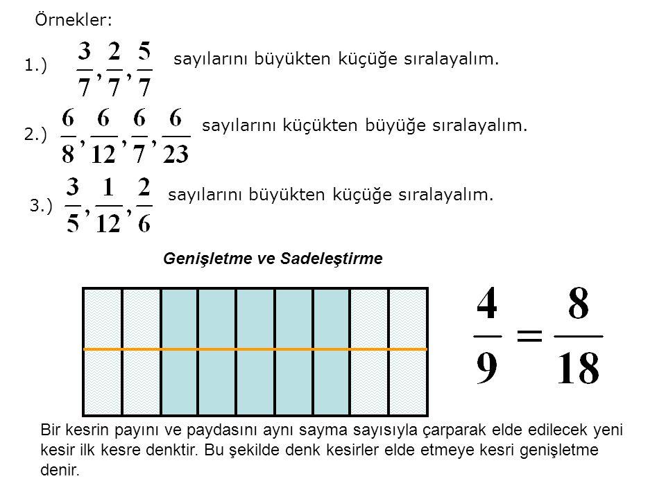 Örnekler: sayılarını büyükten küçüğe sıralayalım. 1.) sayılarını küçükten büyüğe sıralayalım. 2.)