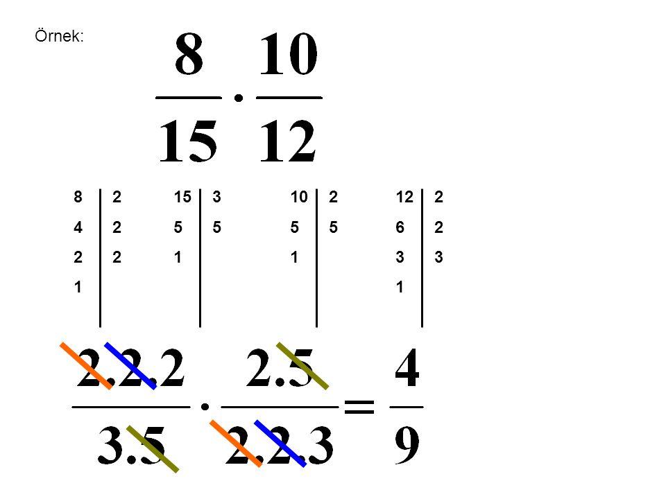Örnek: 8 4 2 1 2 15 5 1 3 5 10 5 1 2 5 12 6 3 1 2 3