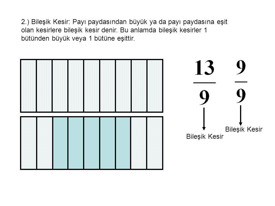 2.) Bileşik Kesir: Payı paydasından büyük ya da payı paydasına eşit olan kesirlere bileşik kesir denir. Bu anlamda bileşik kesirler 1 bütünden büyük veya 1 bütüne eşittir.