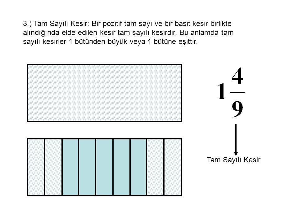 3.) Tam Sayılı Kesir: Bir pozitif tam sayı ve bir basit kesir birlikte alındığında elde edilen kesir tam sayılı kesirdir. Bu anlamda tam sayılı kesirler 1 bütünden büyük veya 1 bütüne eşittir.