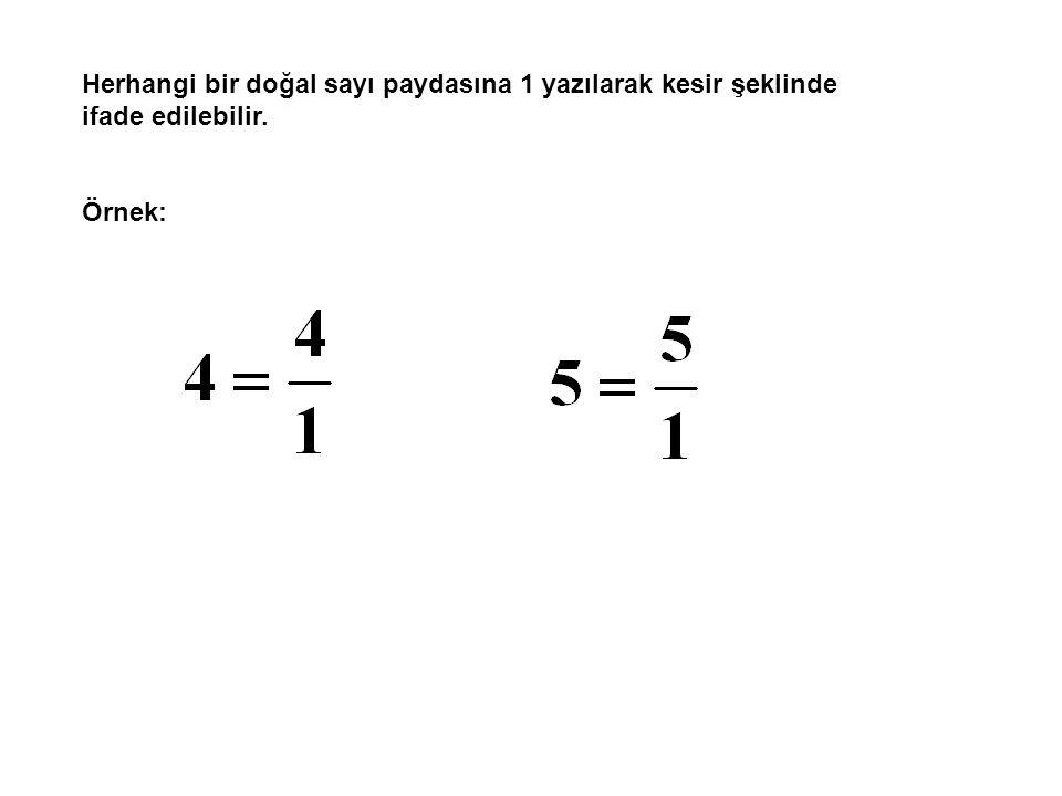 Herhangi bir doğal sayı paydasına 1 yazılarak kesir şeklinde ifade edilebilir.