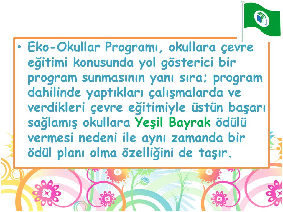 Eko-Okullar Programı, okullara çevre eğitimi konusunda yol gösterici bir program sunmasının yanı sıra; program dahilinde yaptıkları çalışmalarda ve verdikleri çevre eğitimiyle üstün başarı sağlamış okullara Yeşil Bayrak ödülü vermesi nedeni ile aynı zamanda bir ödül planı olma özelliğini de taşır.