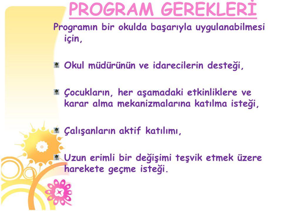 PROGRAM GEREKLERİ Programın bir okulda başarıyla uygulanabilmesi için,