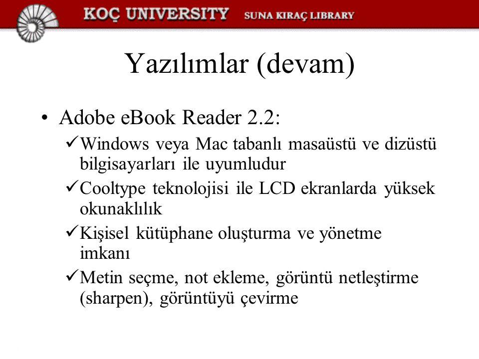 Yazılımlar (devam) Adobe eBook Reader 2.2: