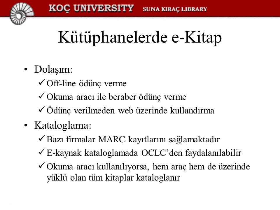 Kütüphanelerde e-Kitap