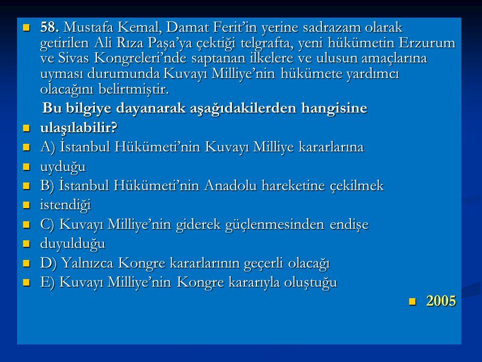 58. Mustafa Kemal, Damat Ferit'in yerine sadrazam olarak getirilen Ali Rıza Paşa'ya çektiği telgrafta, yeni hükümetin Erzurum ve Sivas Kongreleri'nde saptanan ilkelere ve ulusun amaçlarına uyması durumunda Kuvayı Milliye'nin hükümete yardımcı olacağını belirtmiştir.