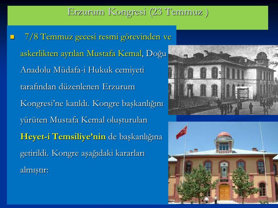 Erzurum Kongresi (23 Temmuz )