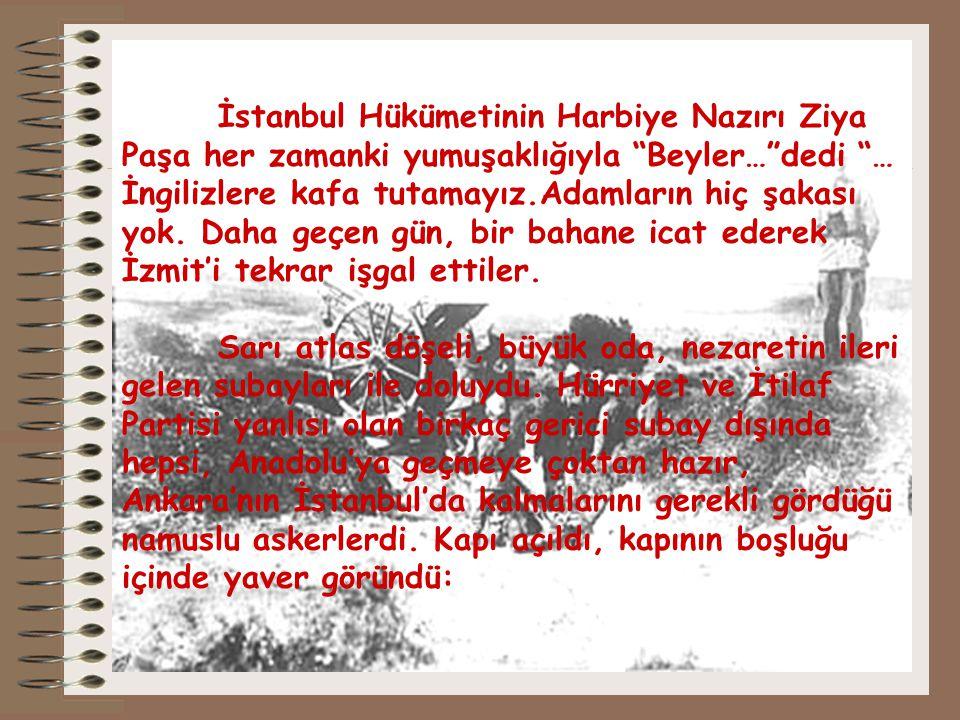 İstanbul Hükümetinin Harbiye Nazırı Ziya Paşa her zamanki yumuşaklığıyla Beyler… dedi … İngilizlere kafa tutamayız.Adamların hiç şakası yok.