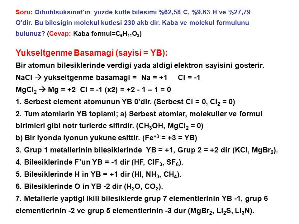 Yukseltgenme Basamagi (sayisi = YB):