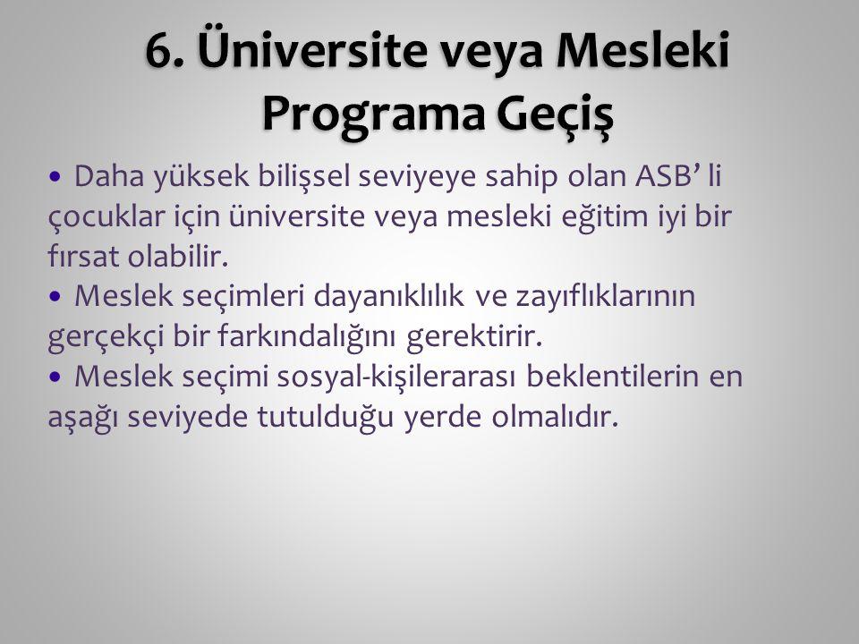 6. Üniversite veya Mesleki Programa Geçiş