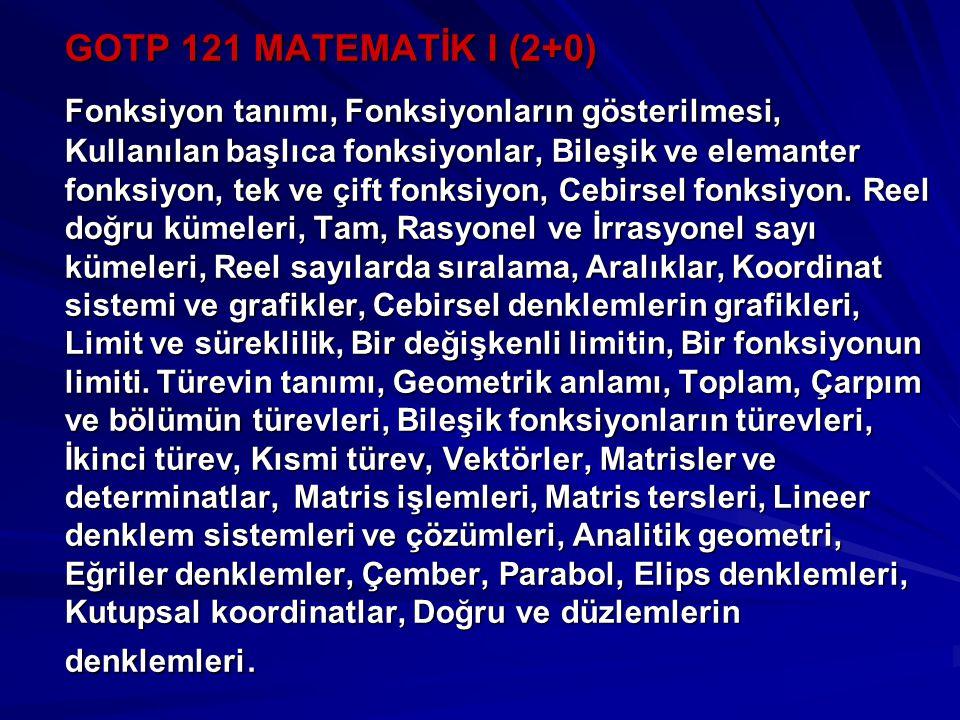 GOTP 121 MATEMATİK I (2+0)